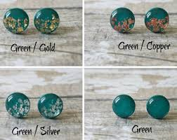 sparkly green earrings green studs etsy