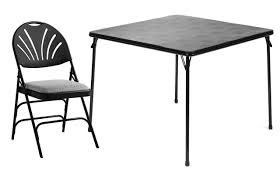 Outside Table And Chair Sets 5pc Samsonite Folding Card Table And Xl Fabric Padded Fan Back