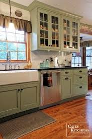 Green Country Kitchen Green Country Cottage Kitchen With Farmhouse Sink