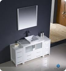 bathroom vanity with side cabinet 60 torino white modern bathroom vanity w 2 side cabinets vessel