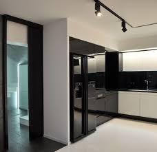 luxury modern black kitchen featuring rectangle shape black