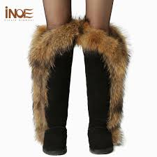 womens size 12 leather boots inoe fox fur boots s thigh high black boots size 11 cow
