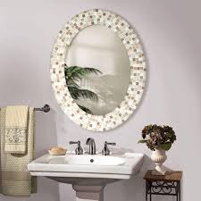 oval bathroom mirror ideas white high gloss finish bathroom frame