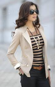 new lady korean fashion lapel double breasted slim blazer jacket