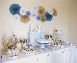 Centerpieces For Baptism For A Boy by Blue Brown Christening Party Dessert Table For Twin Boys Rosette