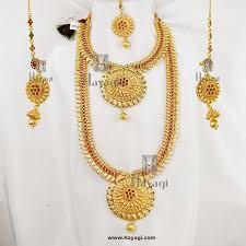 long flower necklace images Leaf flower design temple long short necklace set online hayagi jpg