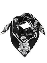 kenzo shop price kenzo tiger print cotton silk foulard black otk1