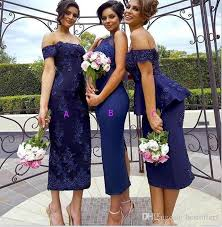 tea length navy blue mermaid bridesmaid dresses 2017 new vintage