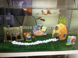 Aquarium Decorations Cheap New 3pc Set Spongebob Pineapple House Squidward Easter Island Home