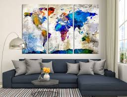 World Map Canvas 25906 Large Wall Art World Map Canvas Print Watercolor World