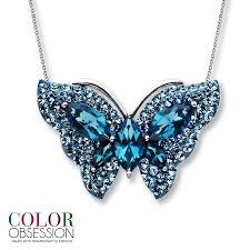 kay blue swarovski elements butterfly necklace sterling silver