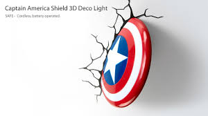 3d deco superhero wall lights cartoon the avengers captain america shield 3d deco light 3d led