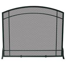 uniflame black wrought iron single panel fireplace screen with