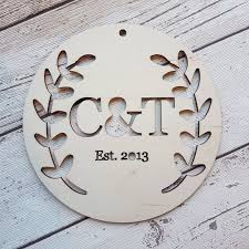 personalised wedding gifts personalised wedding gift circular initials plaque leaves