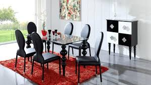 roomartistic black dining room chair with square glass table on