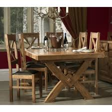 X Leg Dining Table Chateau Solid Oak Cross Leg Dining Table And 6 Normandy Dining