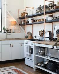 modern open kitchen shelves steel holder candle cream area ceramic