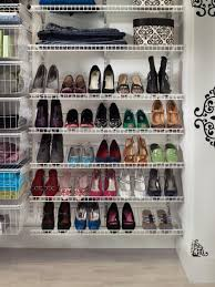 minimalist walk in closet ideas for shoe storage with white wire