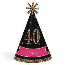 party hats chic 40th birthday pink black and gold cone happy birthday