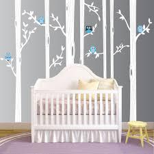 Tree Wall Decals Nursery by Birch Tree Forest Set Vinyl Wall Decal Owls Nursery 1321