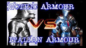 white italian armour vs german gothic armour youtube
