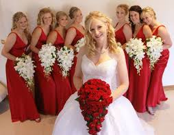 red and white wedding dresses red bouquet and red bridesmaid u0027s