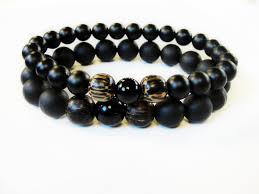 onyx bead bracelet images Boybeads valiant jr matte black onyx natural wood 8mm stretch JPG
