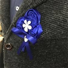 Royal Blue Corsage And Boutonniere 2017 Royal Blue Rose Silk Flower Wrist Corsage Hand Flower Bride