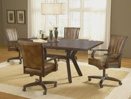 Leather Dining Room Chairs With Arms The Benefit Dining Chairs With Casters For Kitchen The Home