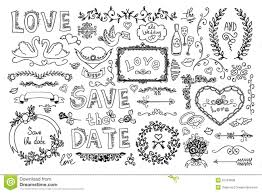 set of wedding ornaments and decorative elements stock vector