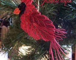 quilling cardinal ornament bird