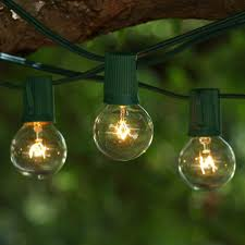 Clear Patio Lights 25 Ft Green C9 String Light With G40 Clear Bulbs