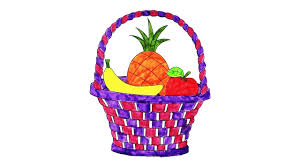 coloring fruit basket with colorful fruits coloring pages for