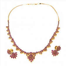 style gold necklace images Hydrabadi style ruby necklace set with earrings 22kt yellow gold jpg