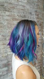 galaxy mermaid colored hair purples pinks grey teal blue violets