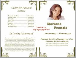 funeral bulletins funeral bulletin sle free program templates order of