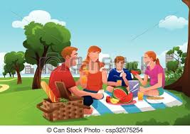 family a picnic in the park a vector illustration of