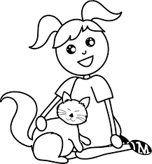 pet sitting with cat coloring page wecoloringpage