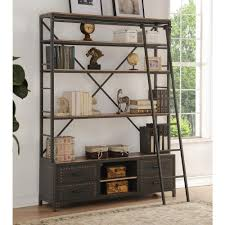 Industrial Bookcase With Ladder by Acme Furniture Actaki Etagere Sandy Gray Bookcase With Ladder