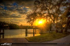 oak tree spanish moss sunset vero beach florida indian river