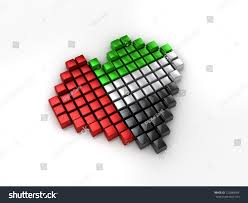 Colors Of Uae Flag 3d Illustration United Arab Emirates Flag Stock Illustration