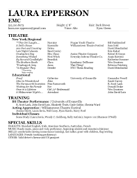 Sample Acting Resume For Beginners by Special Skills On Acting Resume Template Examples