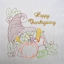 thanksgiving cornicopia redwork colorline embroidery design