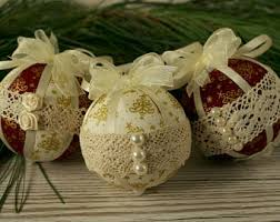 shabby chic christmas baubles lace ornaments fabric