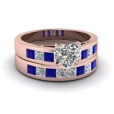 rose gold wedding set amethyst 18k rose gold heart shaped princess cut prong blue sapphire