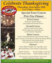 specials thanksgiving dinner at the sardine factory