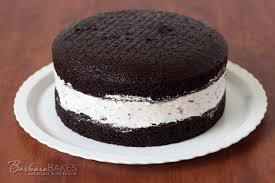chocolate cake with an oreo cheesecake filling from barbara bakes