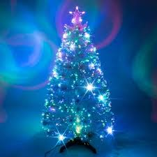 3ft white artificial fibre optic christmas xmas tree with multi