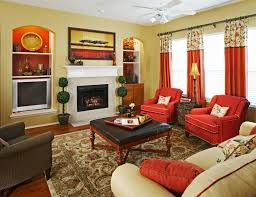 green wall paint color and red curtains for glass window ideas