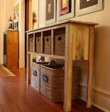 living room oak wood long narrow console table with shelf and